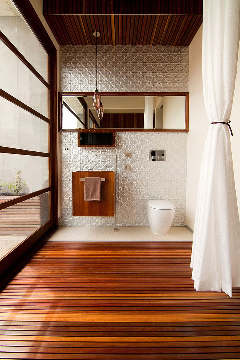 Timber duckboard makes a comeback in the contemporary bathroom [Design: alsoCAN Architects / Jane McDougall Photography]