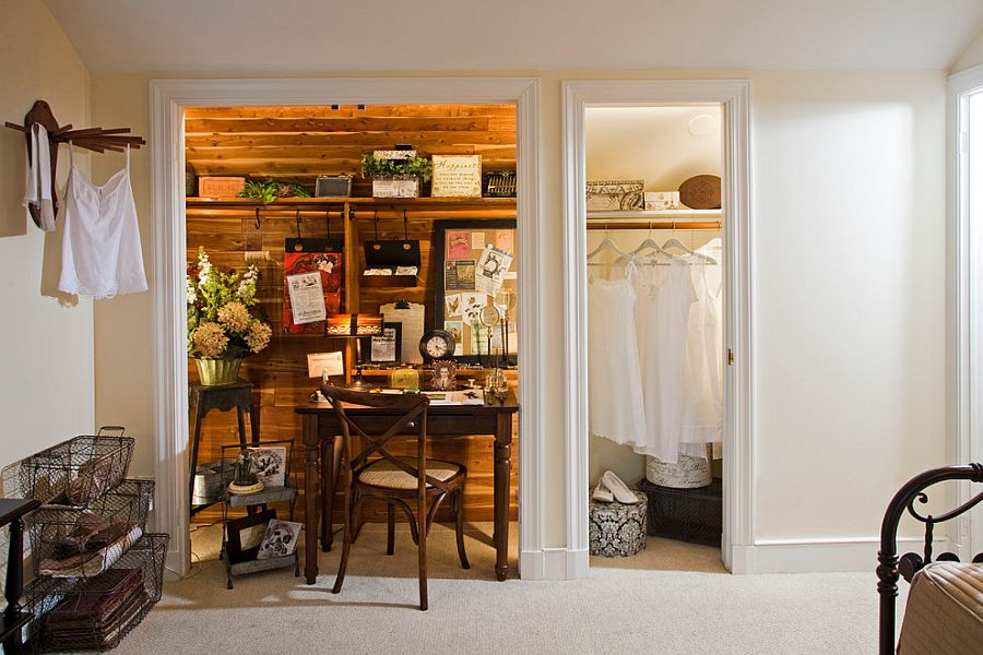 Tiny shabby chic home office makes most of the available closet space [Design: Kathy Appel]