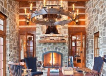 Traditional home office of country retreat is all about stone