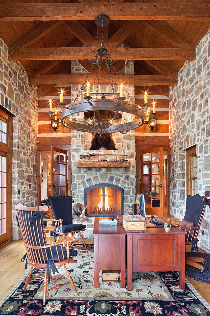 Traditional home office of country retreat is all about stone [Design: Rill Architects]