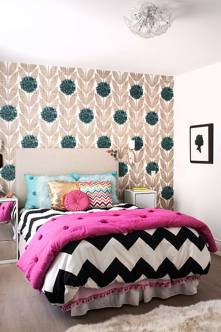 Transitional kids' bedroom with wallpapered accent wall and quilt with chevron pattern [From: Shirley Meisels / Stephani Buchman Photography]