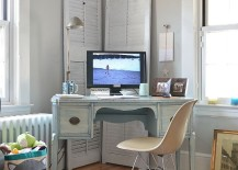 Unassumingly elegant shabby chic home office of New York home