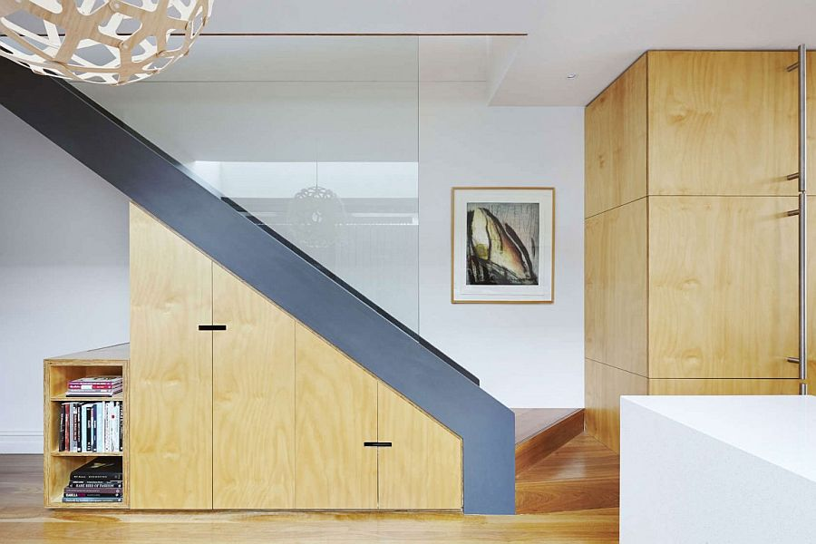 Under staircase storage area design