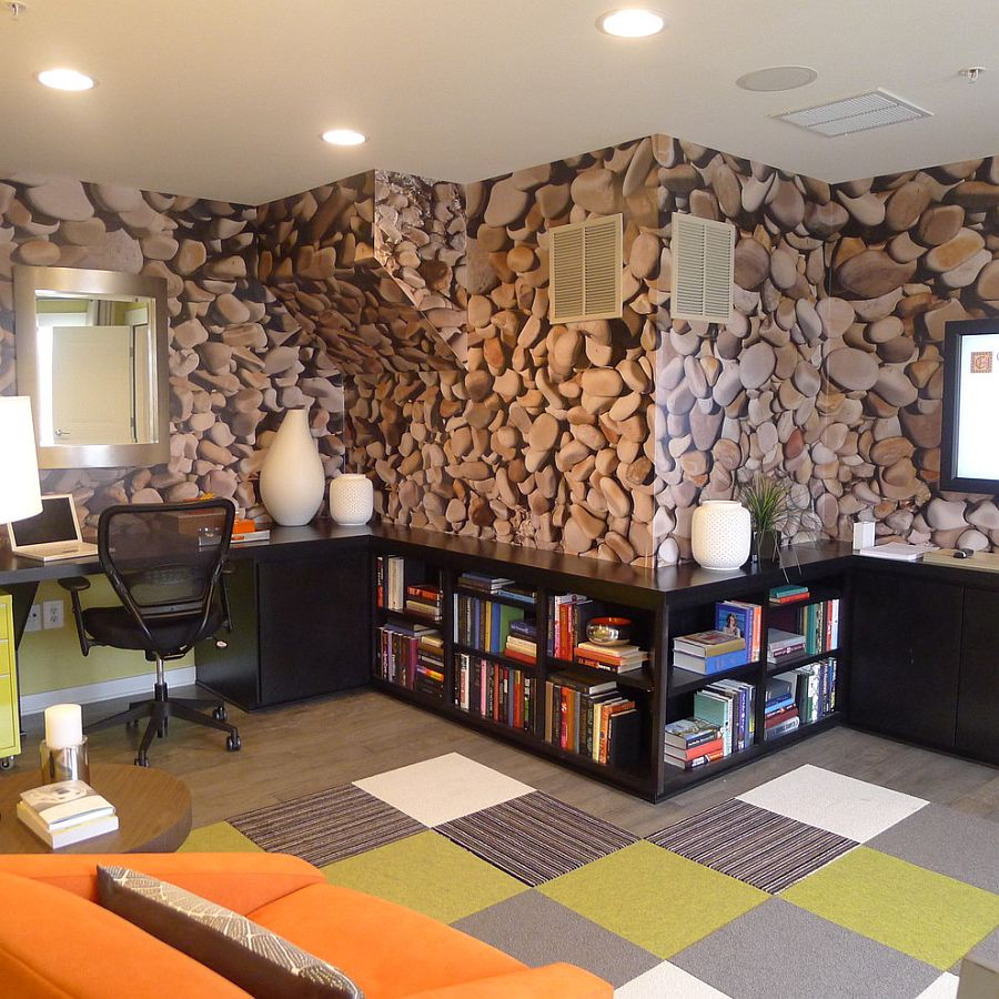 Office Wall Background Design : Exquisite home offices with stone walls