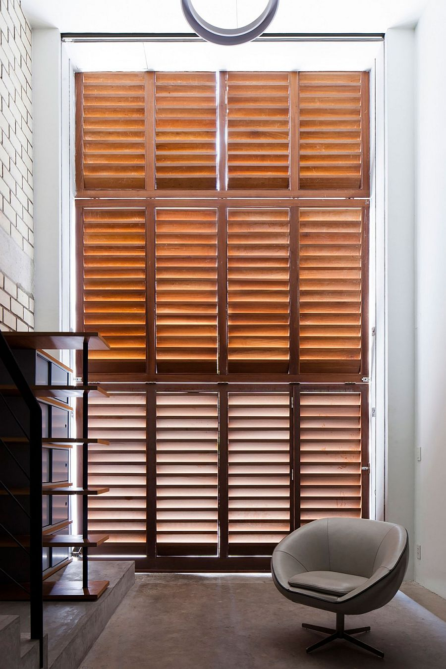 View of the shutters from the inside of the home