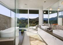 View outside is the focal point inside this captivating contemporary bathroom