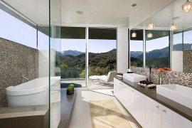 View outside is the focal point inside this captivating contemporary bathroom 270x180 Framed to Perfection: 15 Bathrooms with Majestic Mountain Views