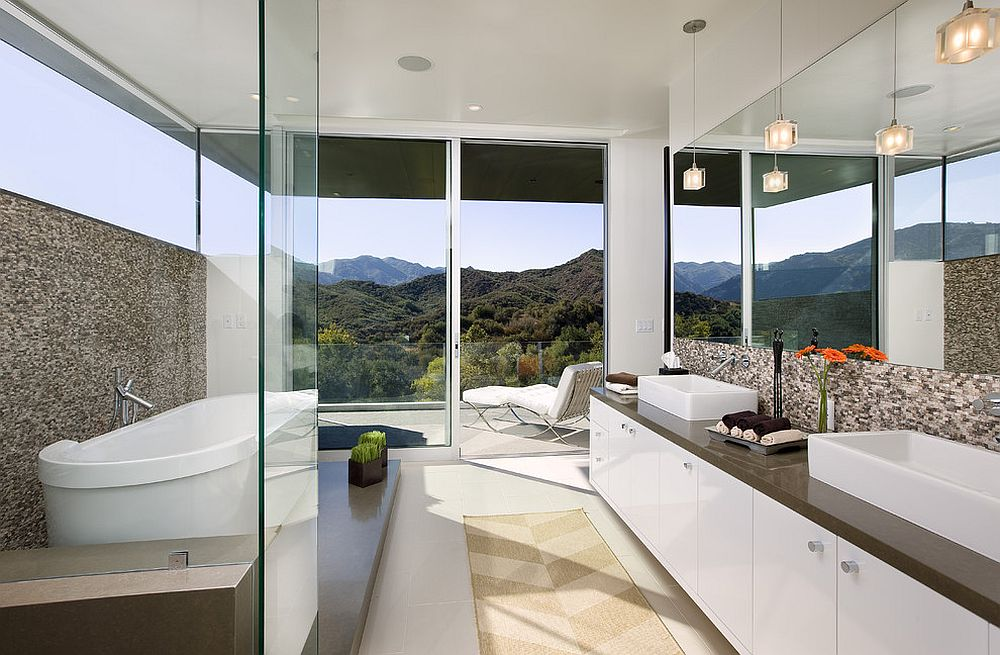 View outside is the focal point inside this captivating contemporary bathroom [Design: Abramson Teiger Architects]