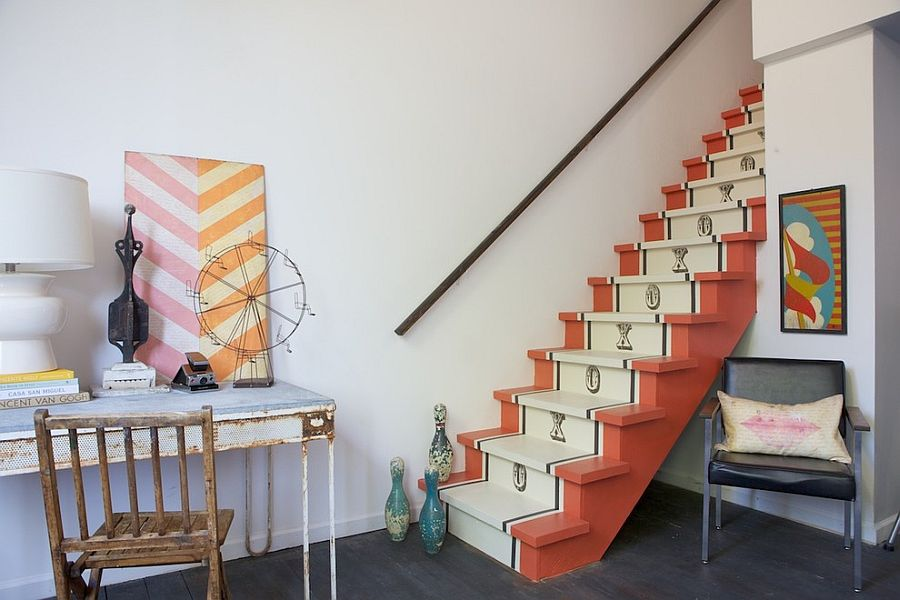 Vintage runner design for the shabby chic staircase [Design: Shannon Kaye]