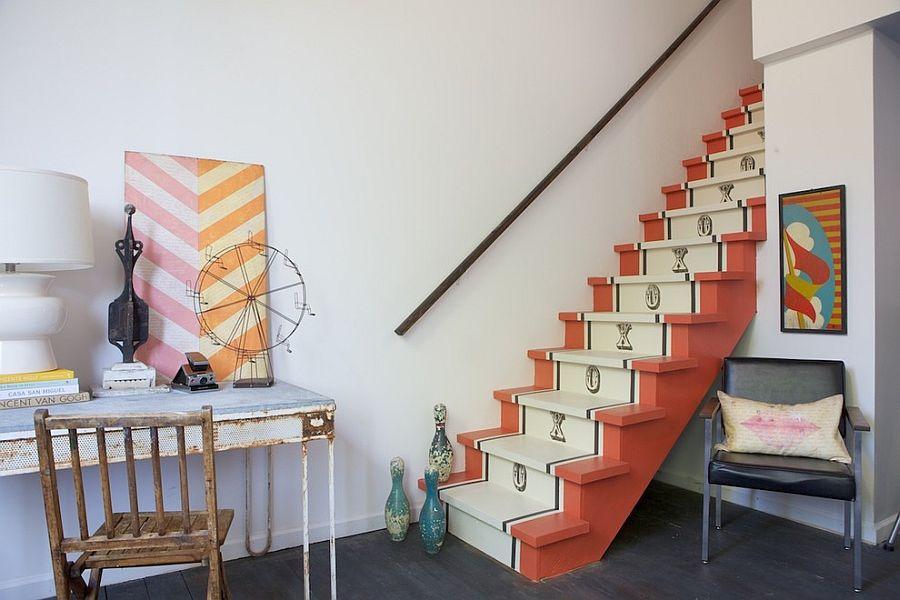 Vintage runner design for the shabby chic staircase [Design: Shannon Kaye]