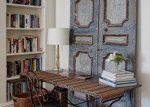 Vintage wooden doors bring shabby chic charm to this home workspace