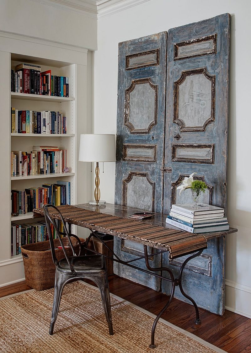 Vintage wooden doors bring shabby chic charm to this home workspace [Design: Lewis Giannoulias Interiors]