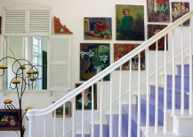 Wall art adds to the shabby chic style of the staircase in white 217x155 11 Fabulous Staircases That Exude Shabby Chic Panache