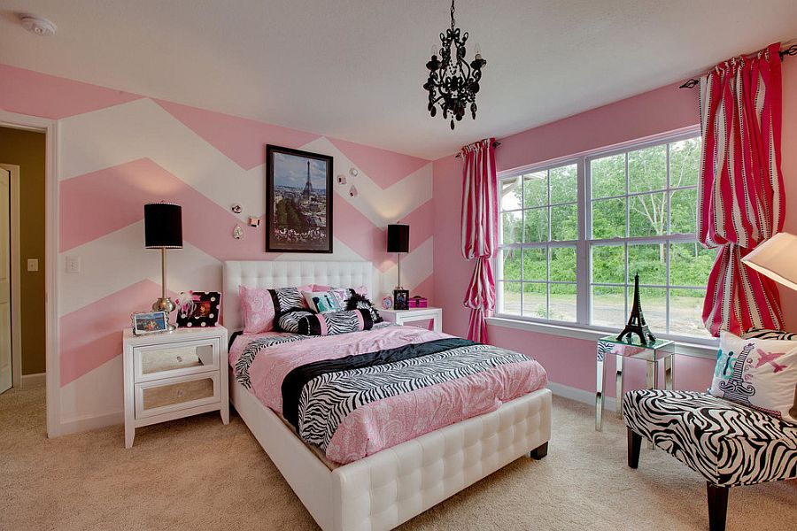 White and pink chevron accent wall [Design: Eleni Interiors]