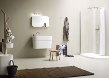 White is the color choice inside the contemporary bathroom