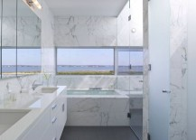 White marble bathroom with a view