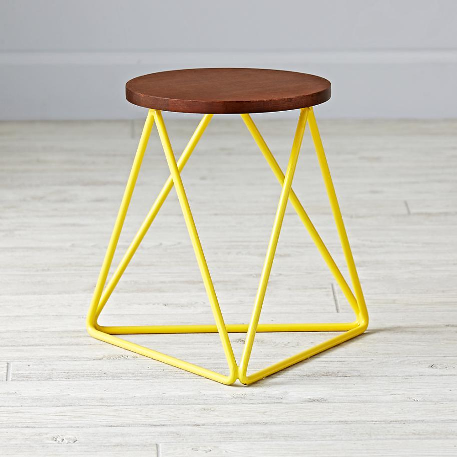 Wood and metal geo stool from The Land of Nod