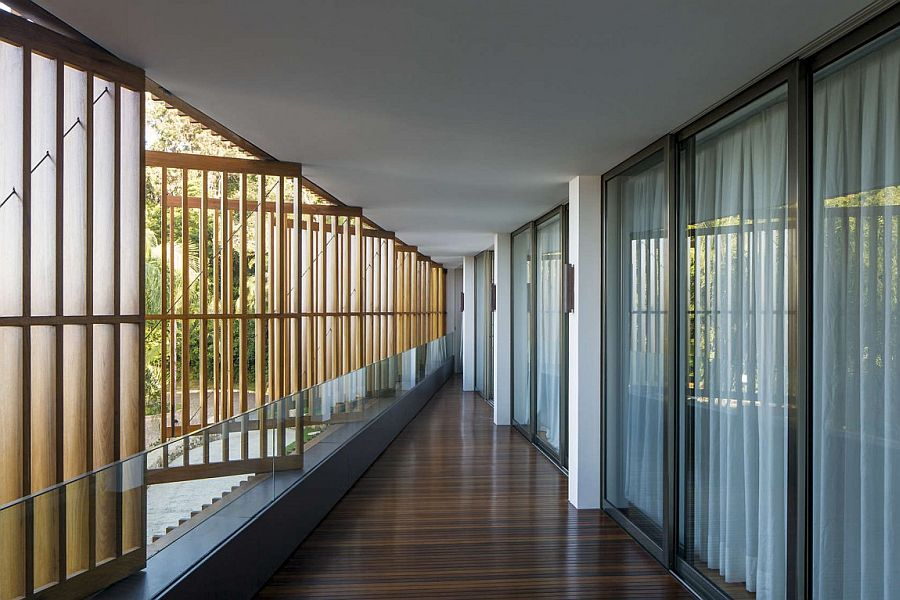 Wooden shutters bring in light and gentle seaside breeze