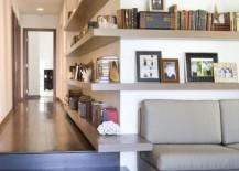 Wrap-around corner shelving in a modern interior