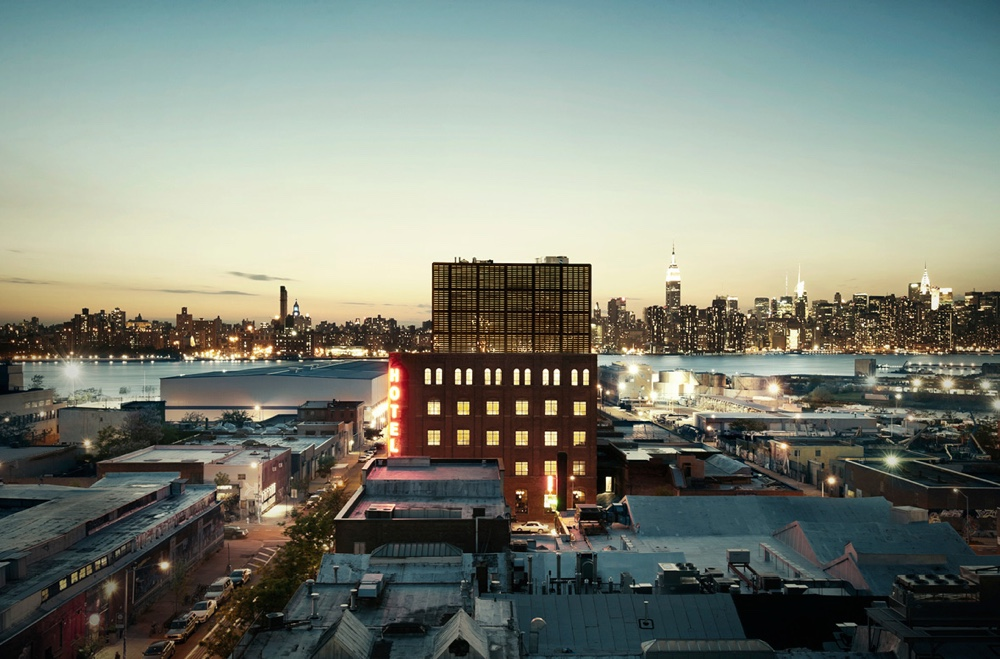Wythe Hotel and Manhattan skyline