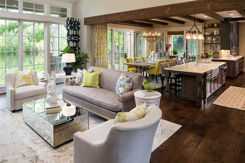 Yellow links the various spaces in this open floor plan [From: Martha O'Hara Interiors / Sharratt Design & Company]