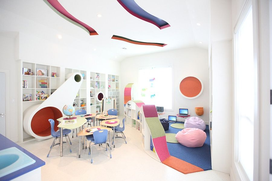 A colorful and inspirational study space for kids [Design: Bayless Custom Homes]