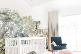 A shaggy rug makes a big impact in a baby's nursery