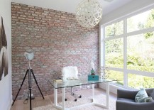 A simple and urbane way to bring in contrast into the home office with brick wall