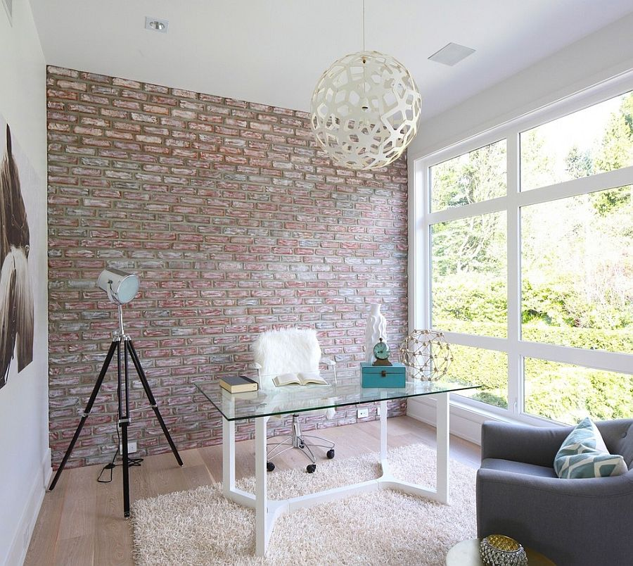 Trendy textural beauty 25 home offices with brick walls a simple and urbane way to bring in contrast into the home office with accent brick sciox Choice Image