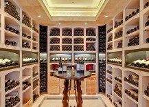 A simple wine tasting zone at the heart of the lovely wine cellar