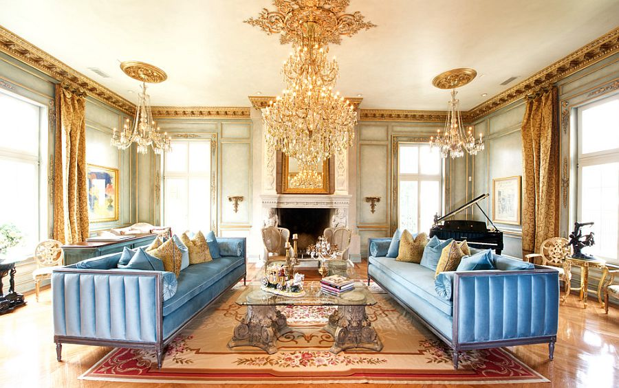 View in gallery A touch of gold never fails in the Victorian living room [Design: Verona Prive & Feast for the Senses: 25 Vivacious Victorian Living Rooms