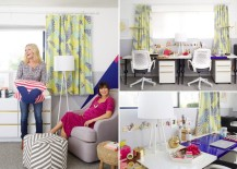 Abstract-pattern curtains in a nursery designed by Emily Henderson
