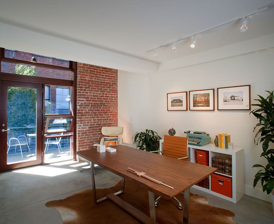 Trendy textural beauty 25 home offices with brick walls for Home office accent wall