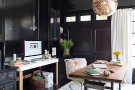 An organized workstation and work desk give the home office a curated look