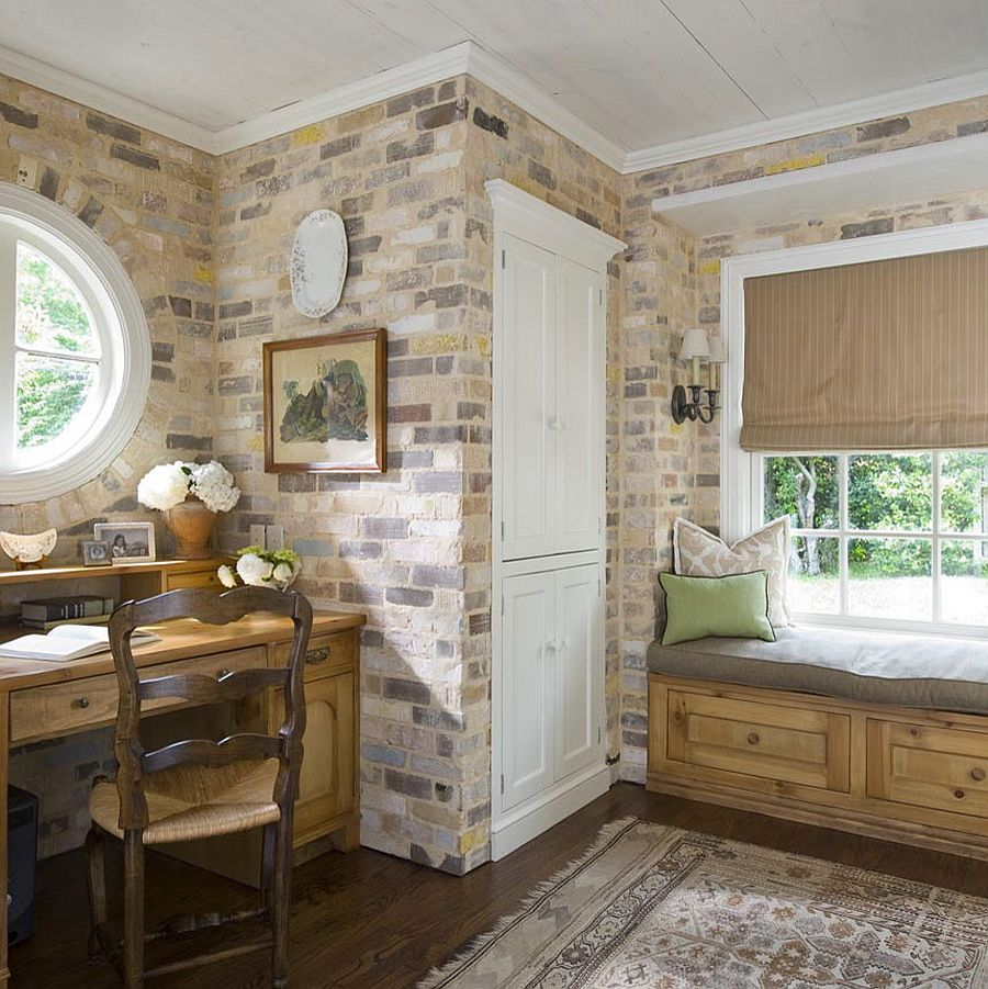 green home office wall antique brick walls steal the show in this home office mudroom combo design katie trendy textural beauty 25 home offices with brick walls