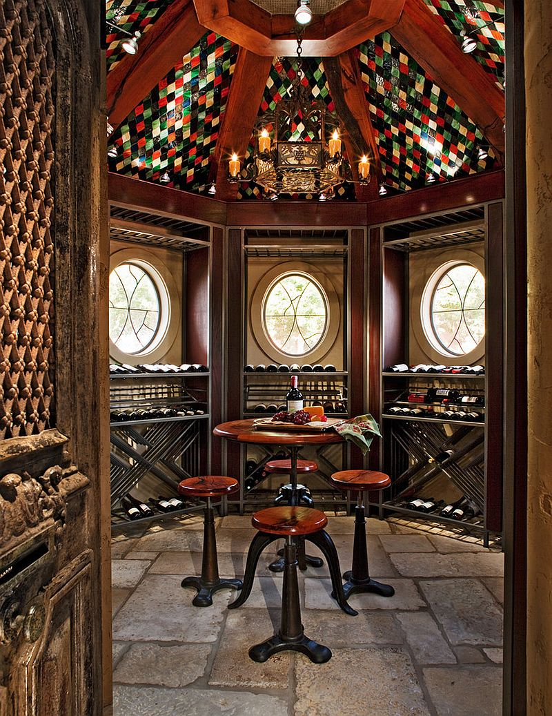 Antique chairs and table for one of a kind tasting room [Design: Michael Lyons Architect]