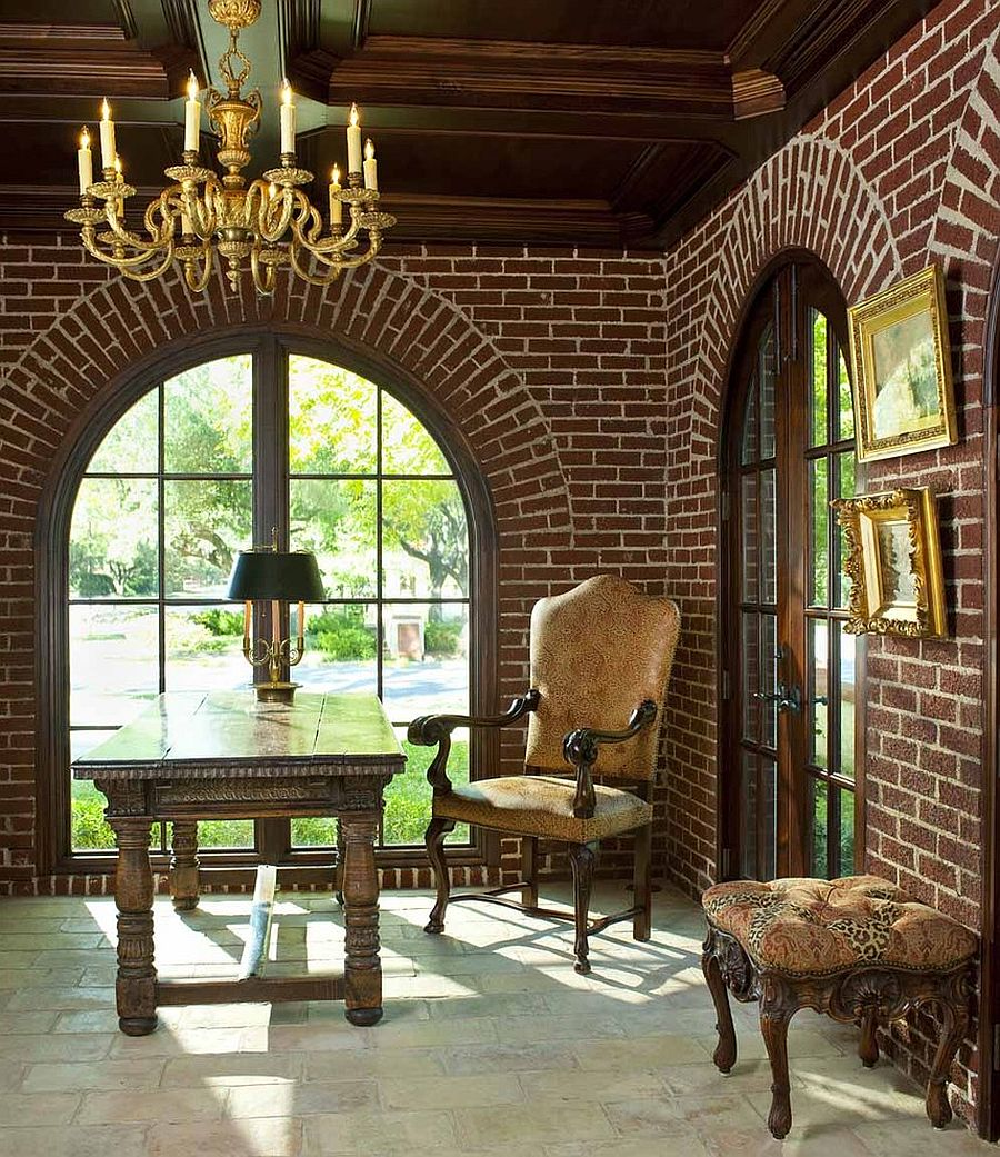 Arched windows and brick walls give the home office a traditional and timeless look [Design: Isler Homes]