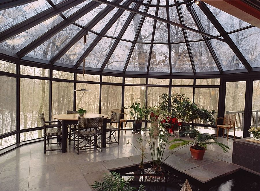 Awesome views and indoor water feature steal the show in this expansive Asian sunroom [Design: JJ's Home Improvements]