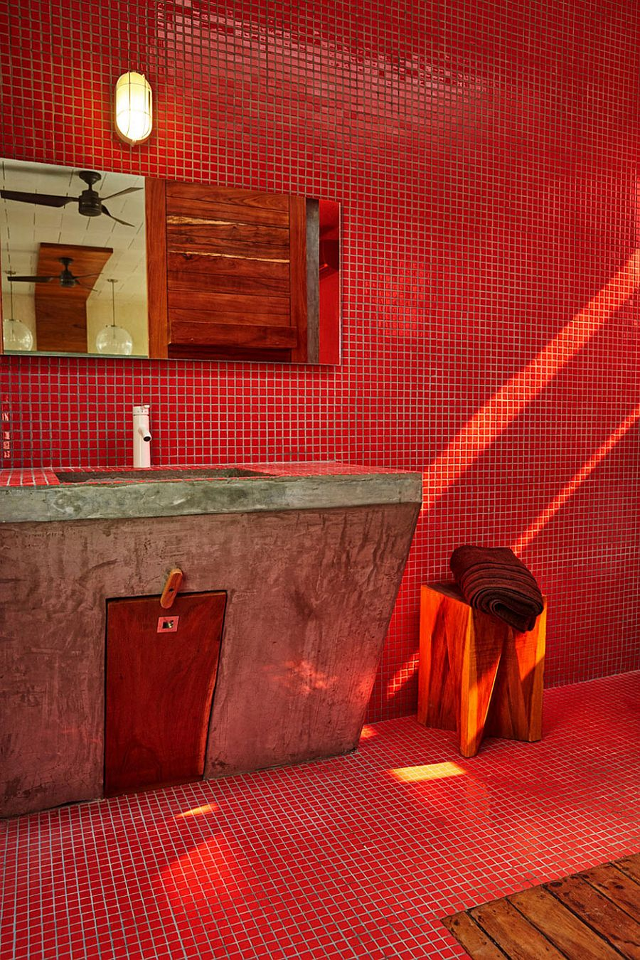 Bathroom vanity in polished concrete