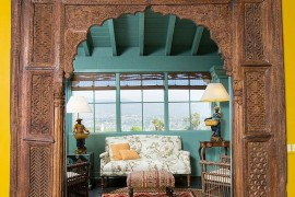 Beautiful Asian sunroom with a rare, ancient door surround