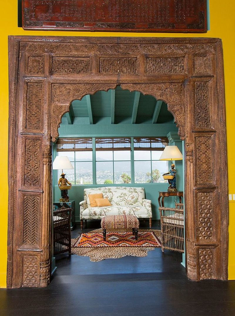 Beautiful Asian sunroom with a rare, ancient door surround [Design: Projects by Giffin & Crane]