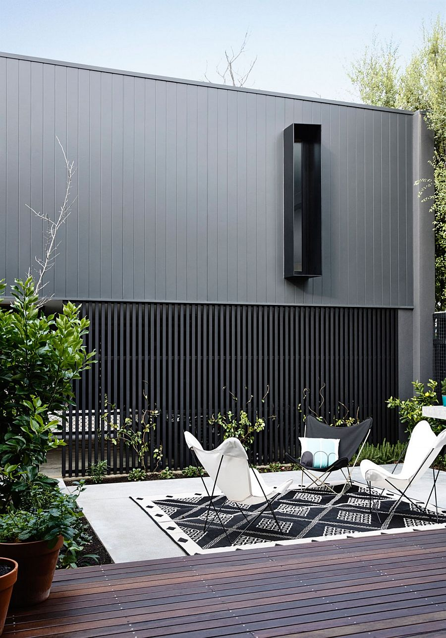 Beautiful gray facade of the Elwood Townhouse in Victoria