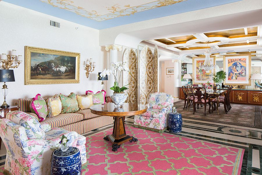 Beautiful living room with Victorian panache and a dash of blue and pink [Design: Todd Richesin Interiors]