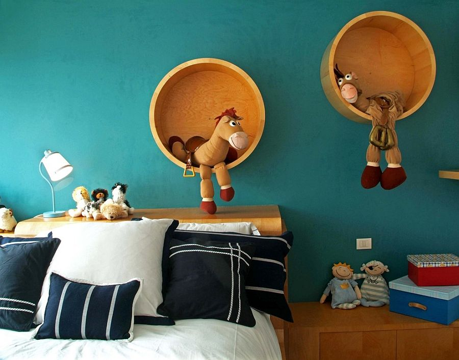 Beautiful, round wooden shelves steal the show in this kids' room [From: Aurelio Vazquez]