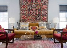 Beautiful rug brings hint of bohemian style to the transitional living space