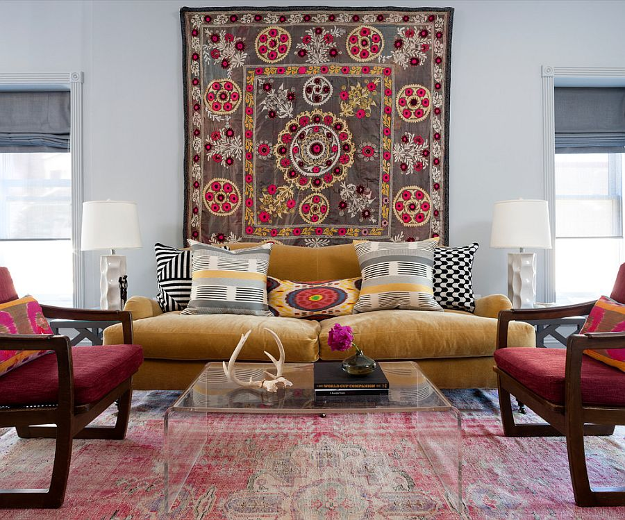 Beautiful rug brings hint of bohemian style to the transitional living space [Design: BGDB Interior Design]