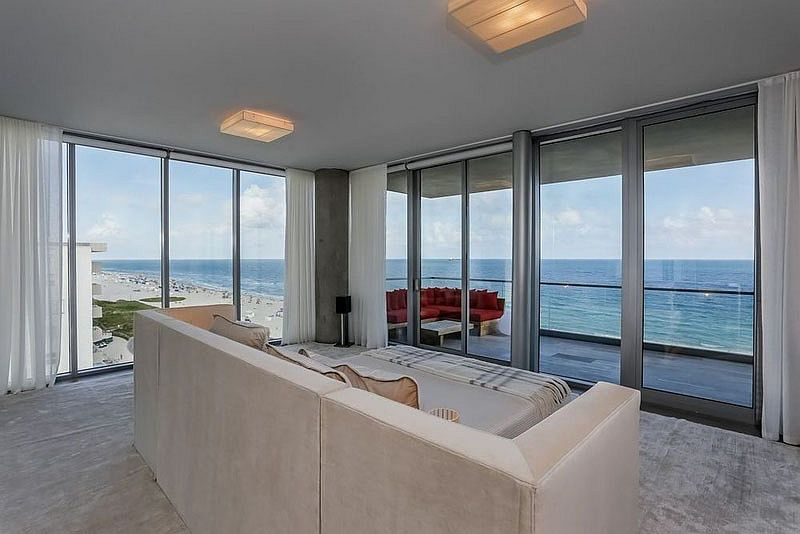 Bedroom of the lavish penthouse in Miami with ocean views