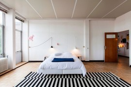 Black and white striped rug draws your attention instantly