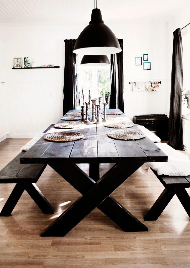 Black indoor picnic style dining Embrace the Relaxed Style of Indoor Picnic Tables