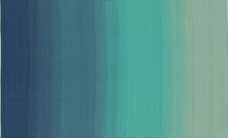 Blue and green outdoor rug from CB2